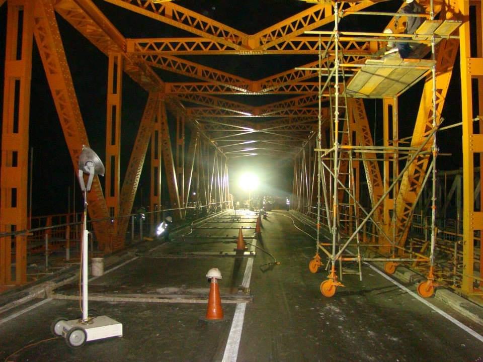 work in progress on a bridge